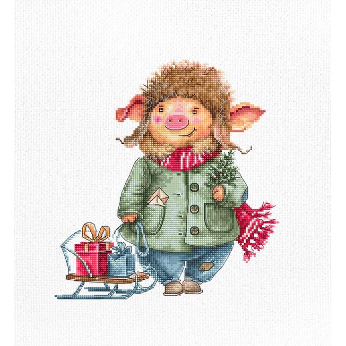 Набор для вышивания LUCA-S арт. B1160 Рождественская свинка-2 12х20 см