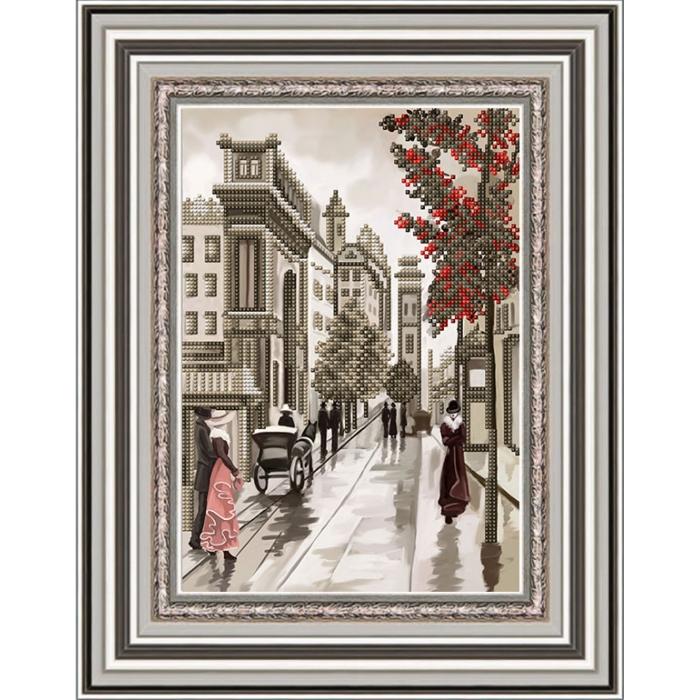 Рисунок на габардине бисером БЛАГОВЕСТ арт.К-4051 Улочки Диптих 1 20х25 см