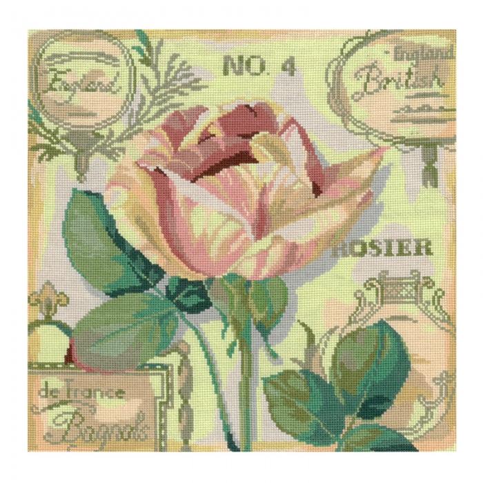 Набор для вышивания мулине НИТЕКС арт.0107 Английская роза 25х25 см
