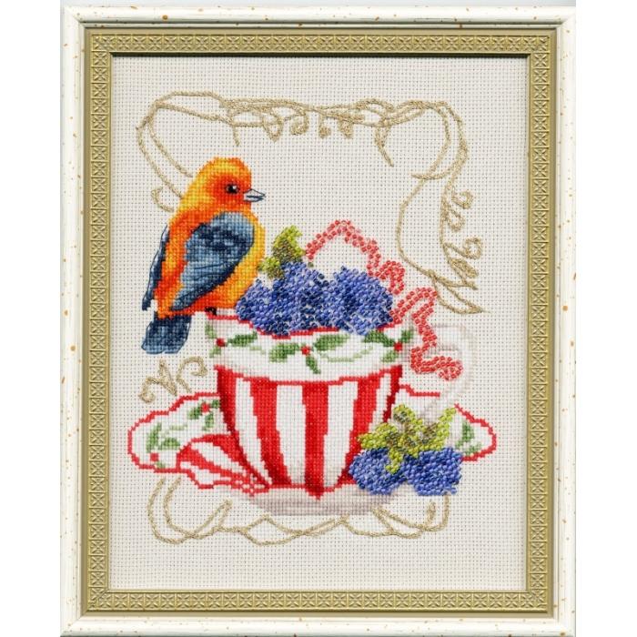 Набор для вышивания крестом ЗОЛОТОЕ РУНО арт. СШ-014 Вкусняшки для пташки 18х14,5 см