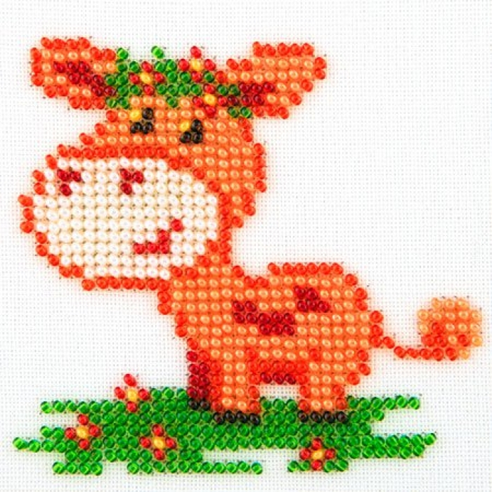 Набор для вышивания бисером LOUISE арт. L469 Коровка 11х11 см