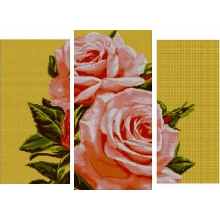 Набор для вышивания бисером MAGIK CRAFT арт.N2006 Триптих Розы 85х50 см