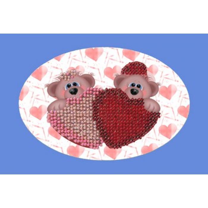 Набор для вышивания ВЫШИВАЛЬНАЯ МОЗАИКА арт. 110ОТ Валентинка мишки 10х15см