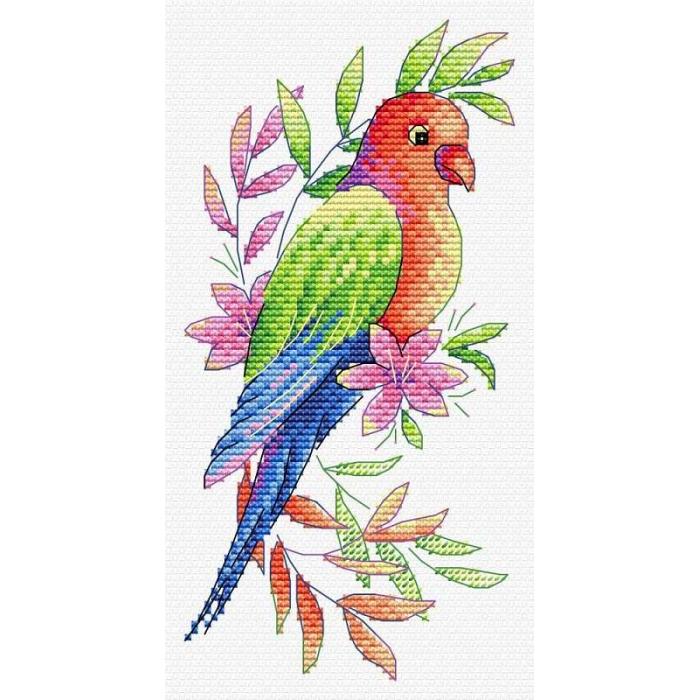 Набор для вышивания ЖАР-ПТИЦА арт.В-535 Попугай 9х19 см