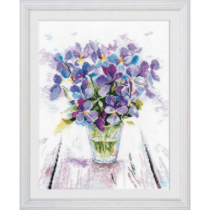 Набор для вышивания ОВЕН арт. 1006 Голубые виолы 19х22 см