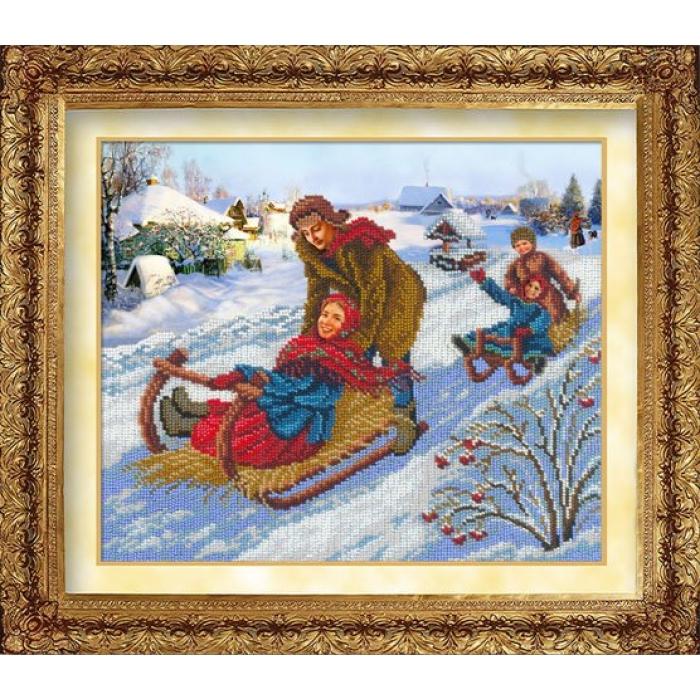 Набор для вышивания бисером РУССКАЯ ИСКУСНИЦА арт.1005 Катание на санях 31х26 см