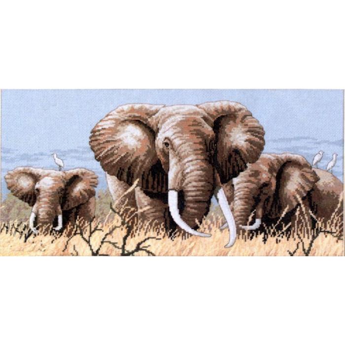 """Набор для вышивания Classic Design арт.4365 """"Африканские слоны"""" 41х19 см"""