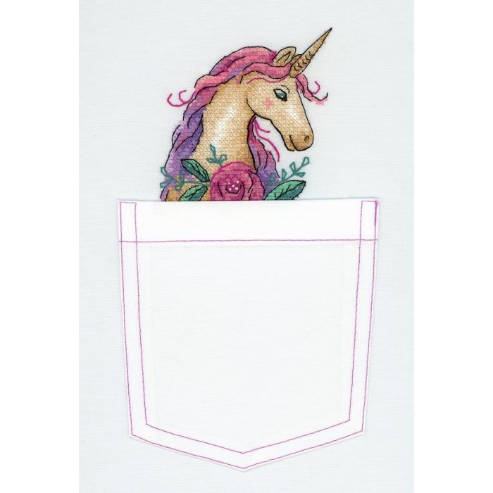 Набор для вышивания ЖАР-ПТИЦА арт.В-250 Сказочный единорог 8х8 см