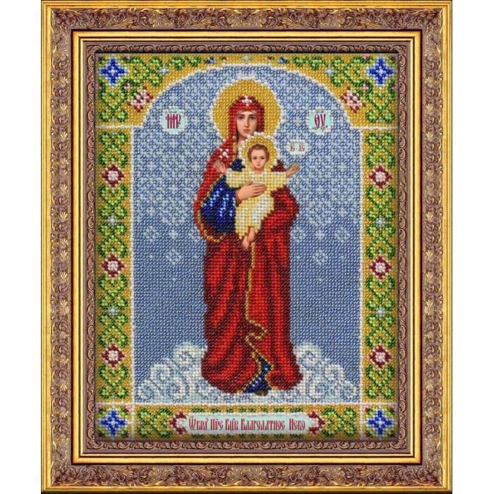 Набор для вышивания бисером ПАУТИНКА арт.Б-1029 Богородица Благодатное небо 20х25 см