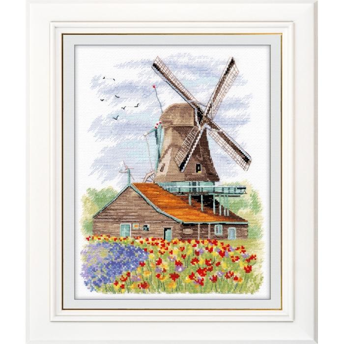 Набор для вышивания ОВЕН арт. 1105 Ветряная мельница. Голландия 19х24 см