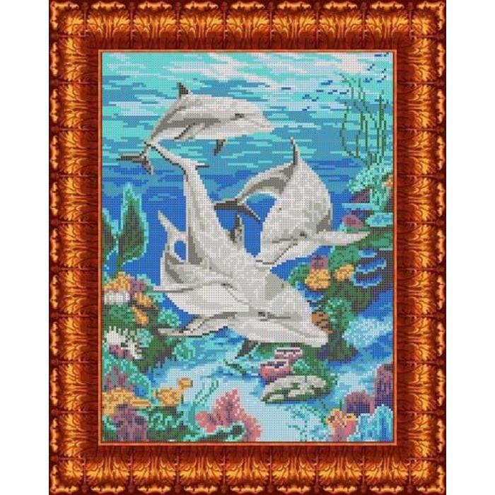 Канва с нанесенным рисунком КАРОЛИНКА арт. КК-004 Морская идиллия 23х30 см
