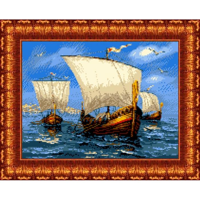 Канва с нанесенным рисунком КАРОЛИНКА арт. КК-040 В дальний путь 23х30 см