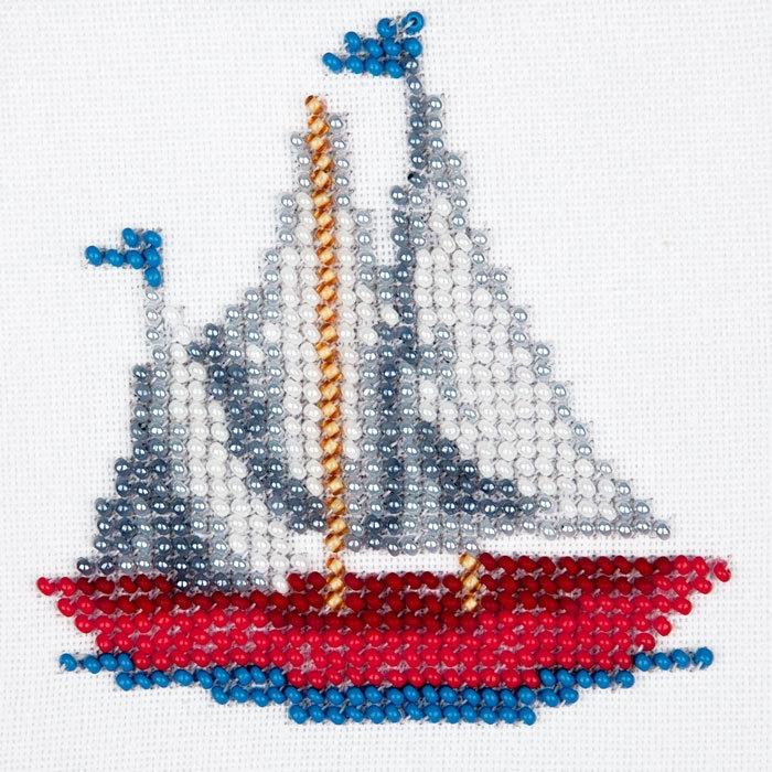 Набор для вышивания бисером LOUISE арт. L457 Кораблик 11х11 см