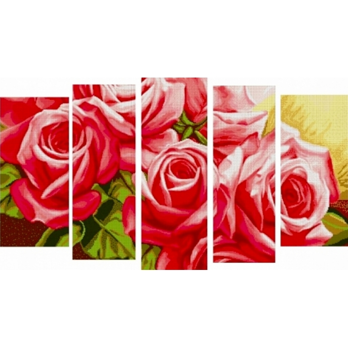 Набор для вышивания бисером MAGIK CRAFT арт.N2007 Полиптих Розы 85х55 см