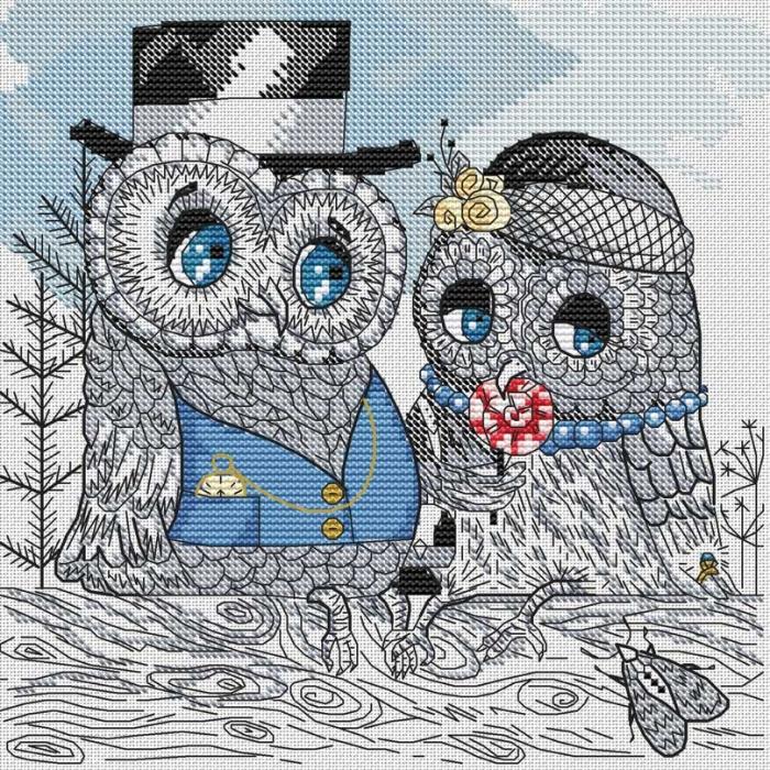 Набор для вышивания нитками БЕЛОСНЕЖКА арт.БЛ.124-14 Совы на свидании 27х27см