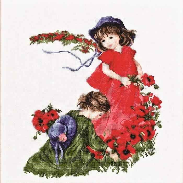 Набор для вышивания АЛИСЕНА арт.1032-1 Девочки в маках 27х31 см салатовый
