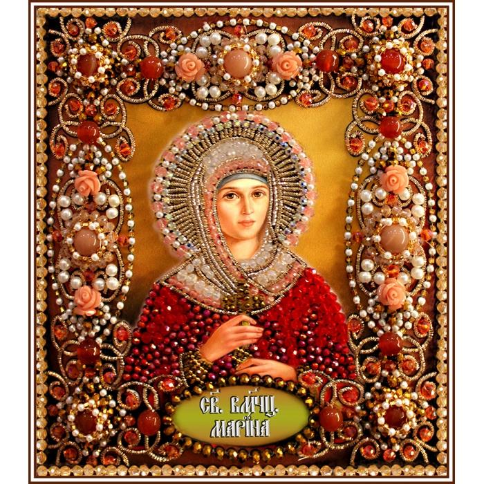 Набор для вышивания хрустальными бусинами ОБРАЗА В КАМЕНЬЯХ арт. 77-И-68 Святая Марина 14,5х16,5 см