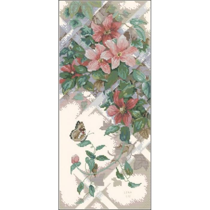 Набор для вышивания DIMENSIONS арт.DMS-13686 Бабочки и клематисы 18х41 см