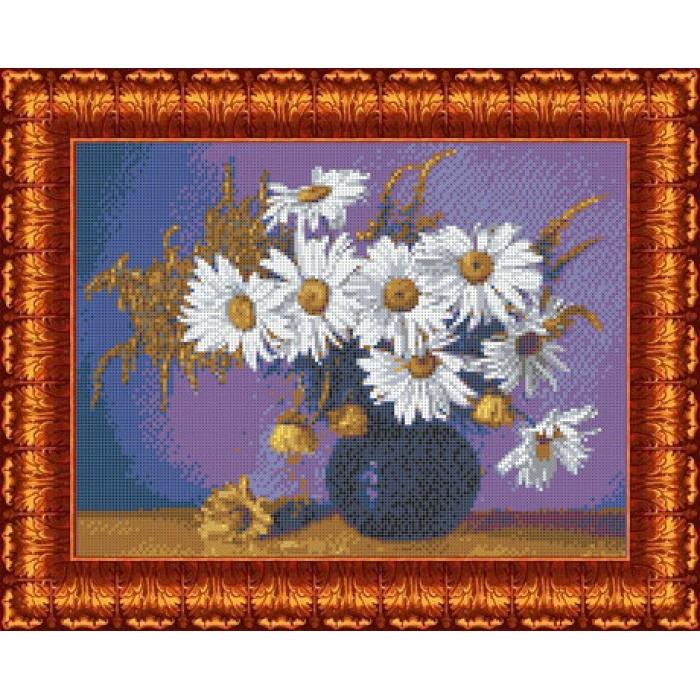 Канва с нанесенным рисунком КАРОЛИНКА арт. КК-041 Натюрморт с ромашками 23х30 см