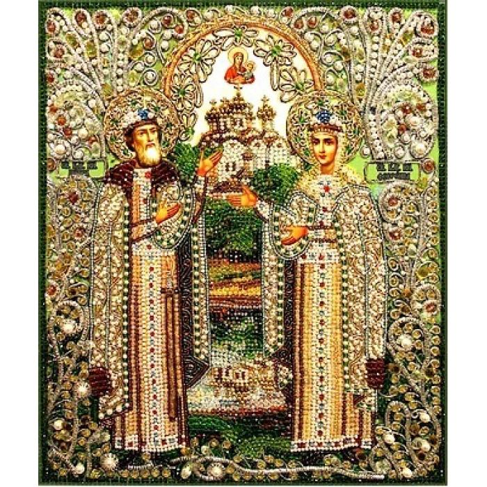 Набор для вышивания хрустальными бусинами ОБРАЗА В КАМЕНЬЯХ арт. 7733 Святые Петр и Феврония 27х33 см