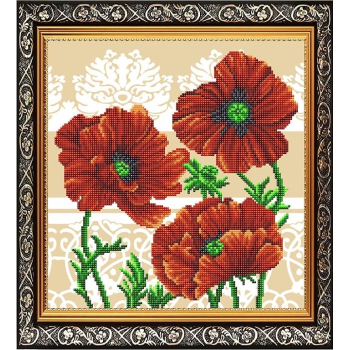 Рисунок на габардине СЛАВЯНОЧКА арт. ААМА-309 Маки Триптих1 28х38 см