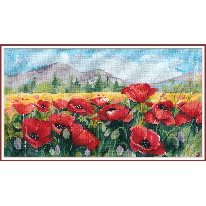 Набор для вышивания ОВЕН арт. 1190 Маки 16х29 см