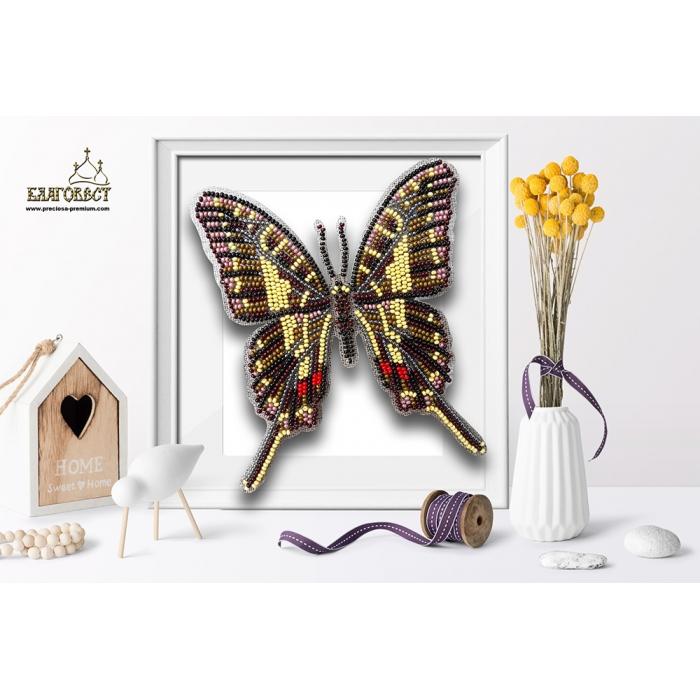 Набор для вышивки бисером 3-D БЛАГОВЕСТ арт.Б-022 Бабочка Protographium Philolaus 12х14 см