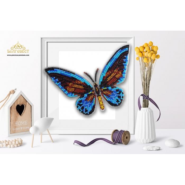 Пластиковая перфорированная основа БЛАГОВЕСТ арт.БС-113 3-D Бабочка. Птицекрылка Урвиллиан 10х12 см