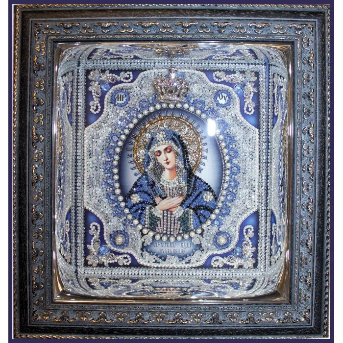 Набор для вышивания хрустальными бусинами ОБРАЗА В КАМЕНЬЯХ арт. 7723 Богородица Умиление 24,5х21,5 см