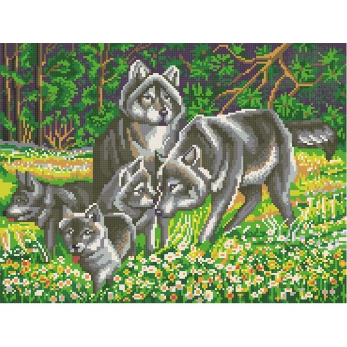 Рисунок на канве КОНЁК арт. 7819 Волчья семья 29х39 см