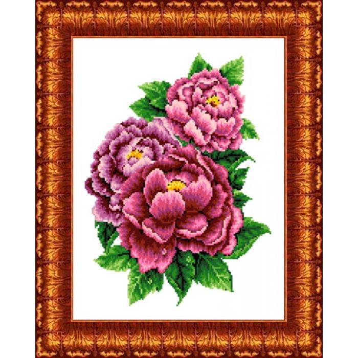 Канва с нанесенным рисунком КАРОЛИНКА арт. КК-025 Розовые пионы 23х30 см