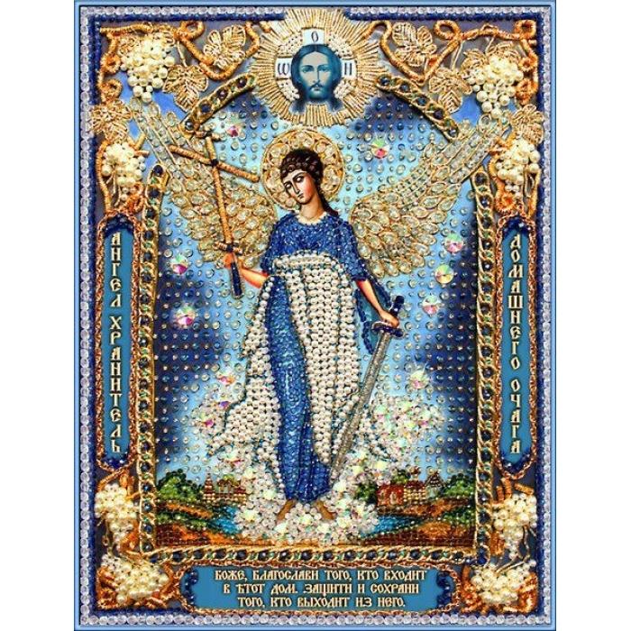 Набор для вышивания хрустальными бусинами ОБРАЗА В КАМЕНЬЯХ арт. 7730 Ангел Хранитель домашнего очага 26,5х35,8 см