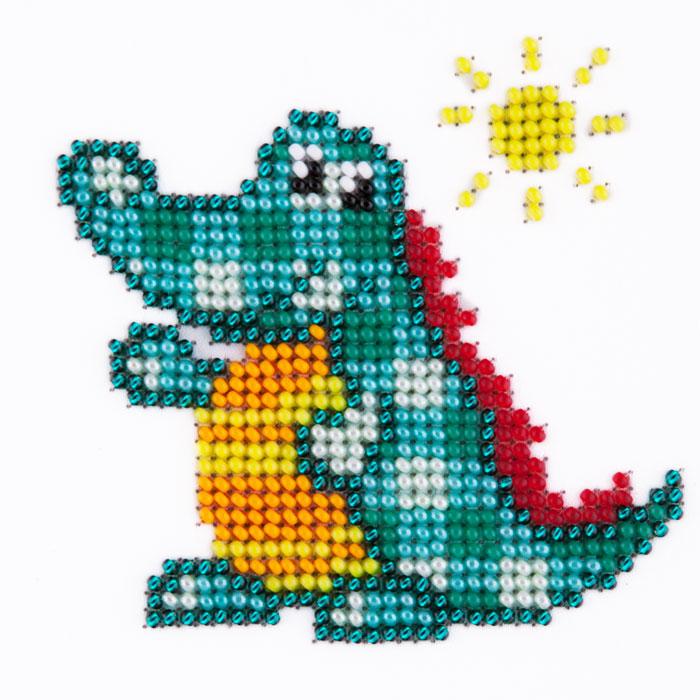 Набор для вышивания бисером LOUISE арт. L414 Крокодил 11х11 см