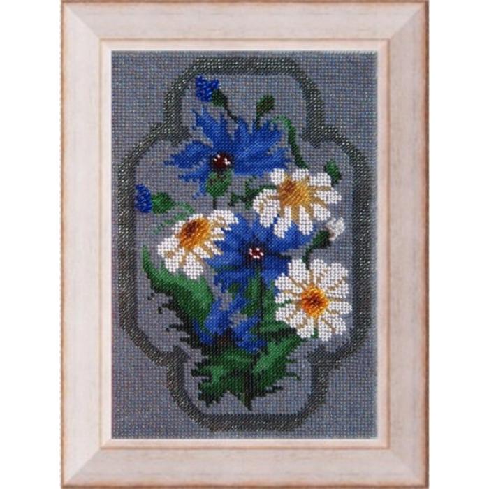 Набор для вышивания ВЫШИВАЛЬНАЯ МОЗАИКА арт. 027ЦВ Полевые цветы. Набор д/выш. бисером 16х24см
