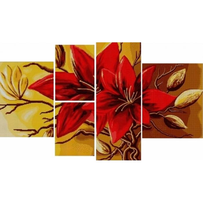 Набор для вышивания бисером MAGIK CRAFT арт.N2008 Полиптих Цветок 85х50 см
