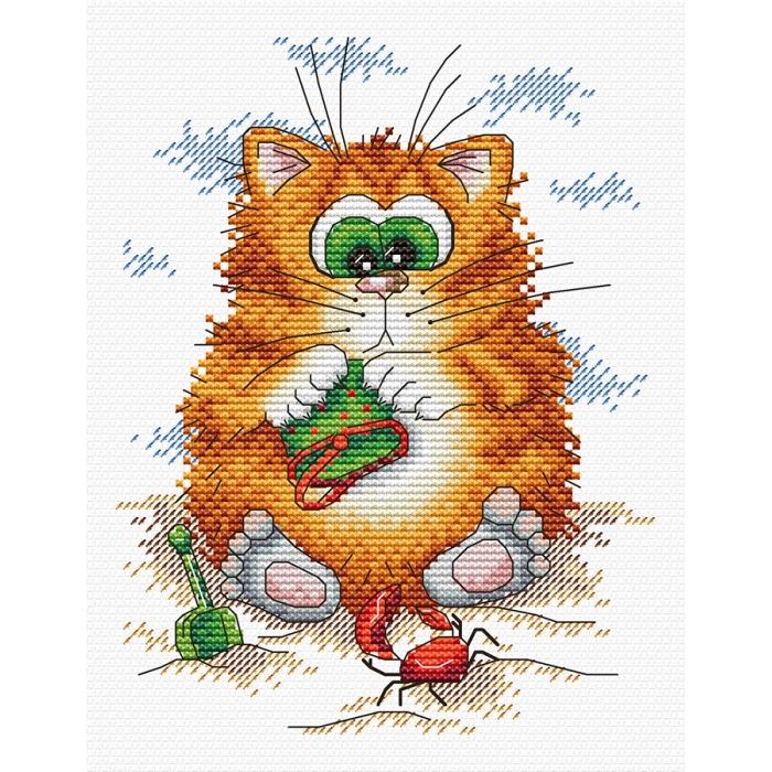 Набор для вышивания ЖАР-ПТИЦА арт.М-148 Кот на пляже 18х14см