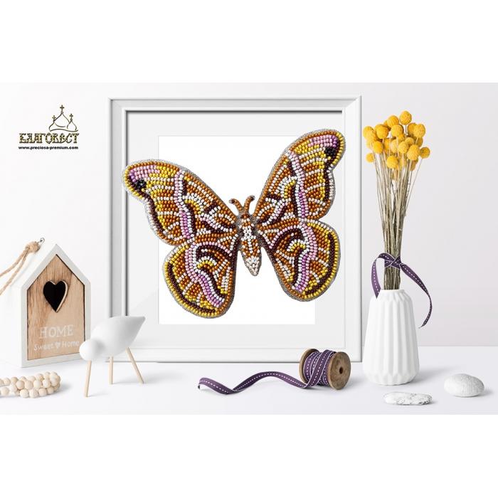 Набор для вышивки бисером 3-D БЛАГОВЕСТ арт.Б-025 Бабочка Samia Cynthia 14х10 см