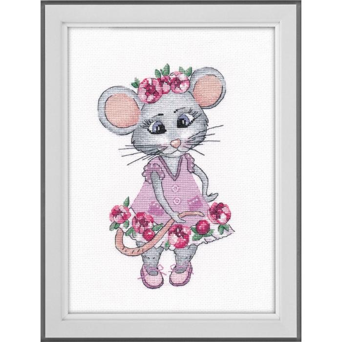 Набор для вышивания ОВЕН арт. 1201 Мышка вертихвостка 13х20 см