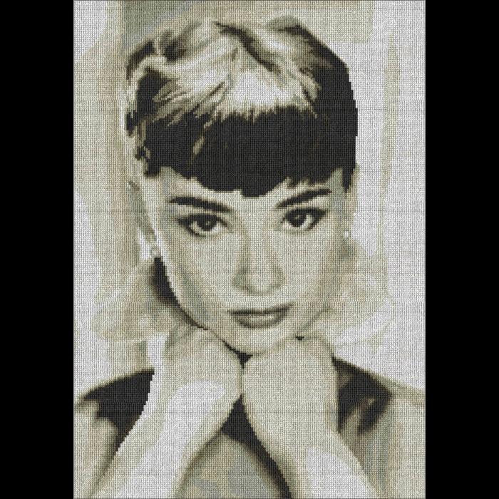 Набор для вышивания мулине НИТЕКС арт.0078 Одри Хепберн 30х45 см