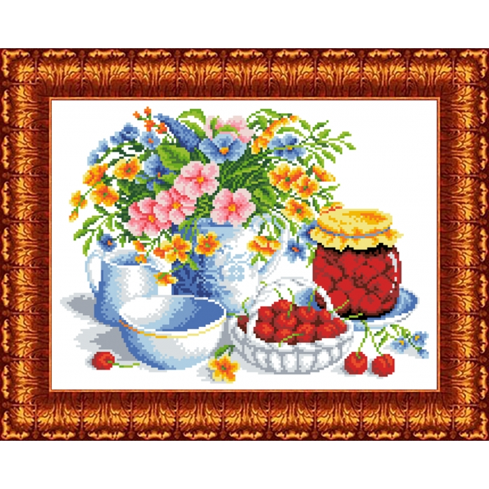 Канва с нанесенным рисунком КАРОЛИНКА арт. КК-053 Вишневое варенье 23х30 см