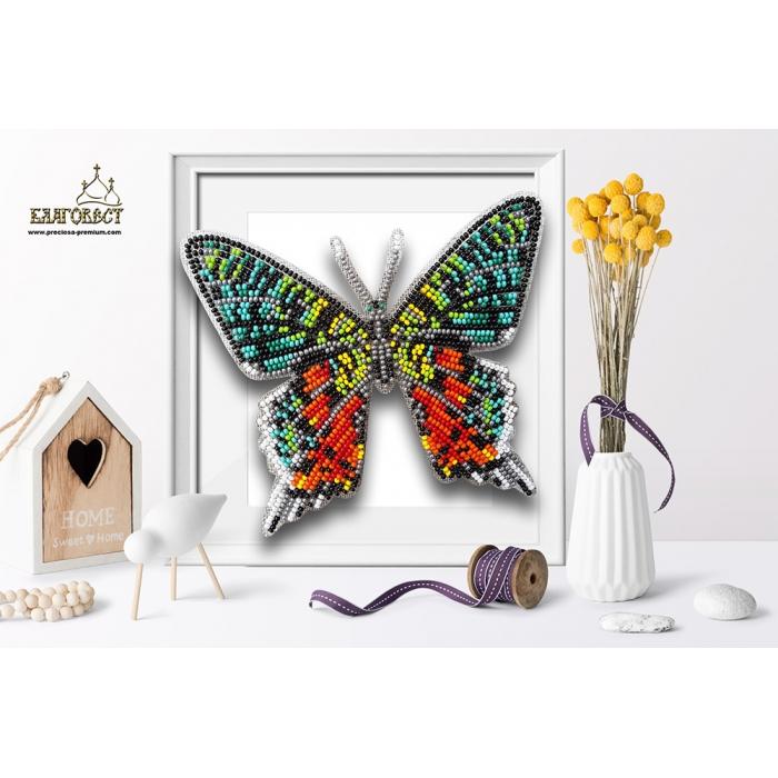 Набор для вышивки бисером 3-D БЛАГОВЕСТ арт.Б-100 Бабочка Chrysiridia Madagascarensis 13,5х12 см