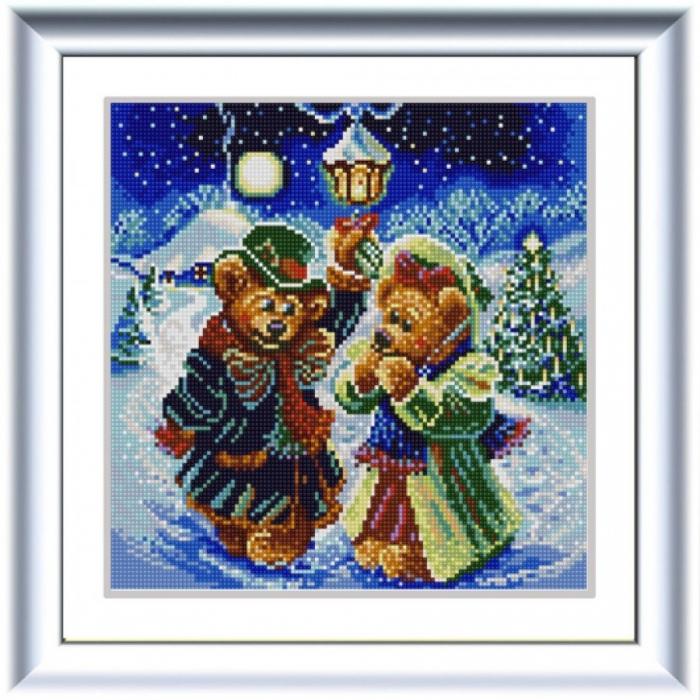 Рисунок на ткани (Бисер) КОНЁК арт. 1257 Новогодние мишки 25х25 см