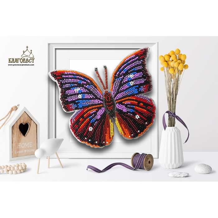 Набор для вышивки бисером 3-D БЛАГОВЕСТ арт.Б-006 Бабочка Анеа Тарентина 13,5х12,5 см