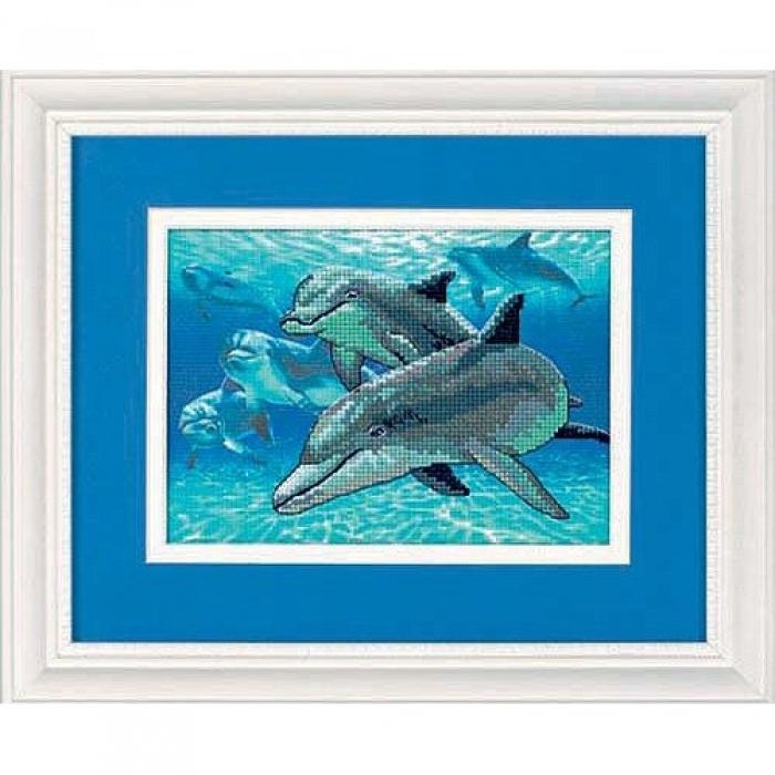 Набор для вышивания DIMENSIONS арт.DMS-06944 Глубоководные дельфины 18х13 см