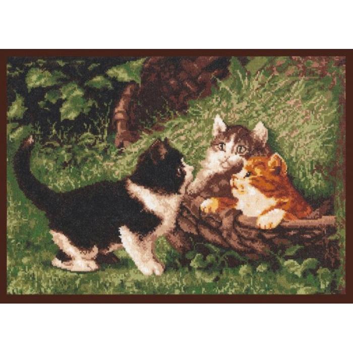 Набор для вышивания ПАЛИТРА арт.07.001 Котята в корзине 39х27 см