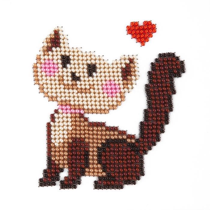 Набор для вышивания бисером LOUISE арт. L406 Кошка 11х11 см