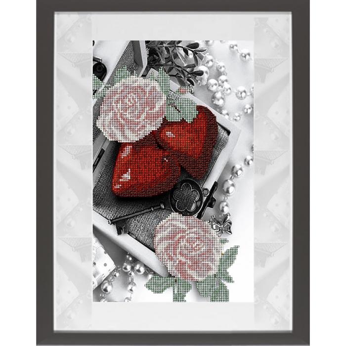 Набор для вышивания бисером КРАСА И ТВОРЧЕСТВО арт.21018 Цветы 17 19х31,4 см