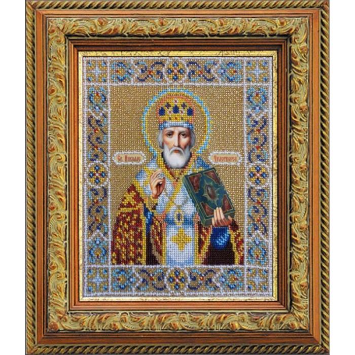 Набор для вышивания бисером ПАУТИНКА арт.Б-1005 Св.Николай Чудотворец 20х24 см