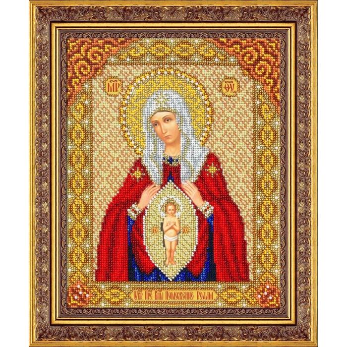 Набор для вышивания бисером ПАУТИНКА арт.Б-1064 Пр.Богородица В родах помошница 20х25 см
