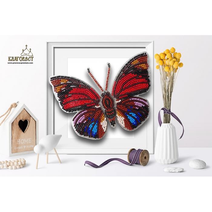Набор для вышивки бисером 3-D БЛАГОВЕСТ арт.Б-010 Бабочка Agrias Claudina Lugens 13,5х10 см